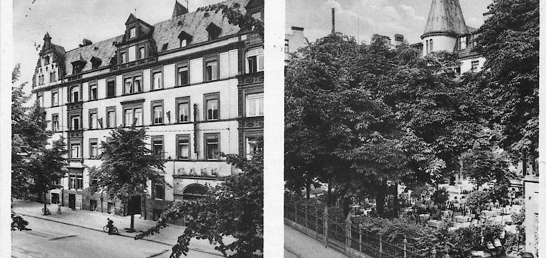 Außenansicht des Kaiserhofs vorne und hinten in den Nachkriegsjahren