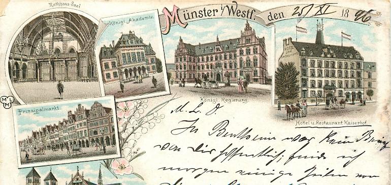 Beschriebene Postkarte aus den Anfangsjahren des Kaiserhofs