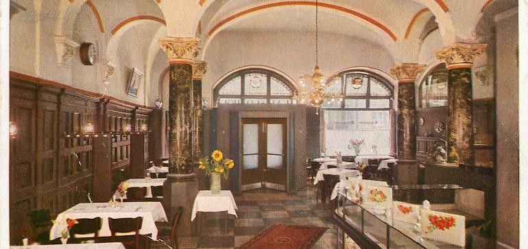 Damaliger Eingangsbereich des Hotels und der Gastronomie