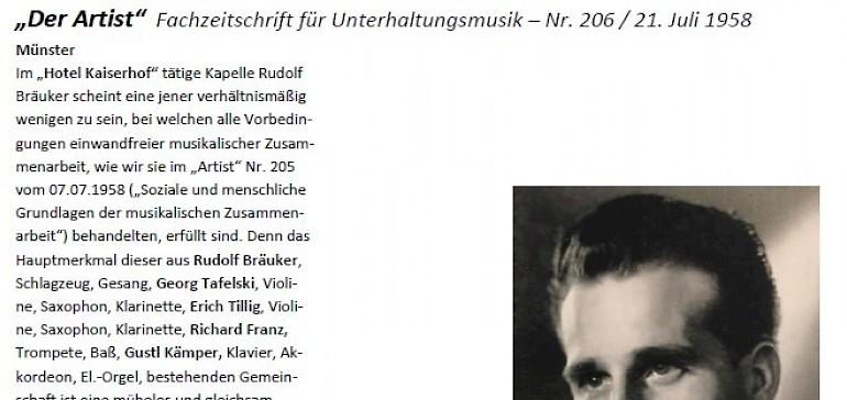 Prof. Dr. Rudolf Andreas Bräuker spielte mit seiner Kapelle im Kaiserhof
