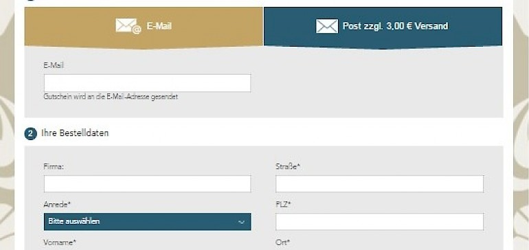 Kontaktdaten und Zahlungsdaten eingeben, Versandart auswählen und fertig ist Ihr Gutschein