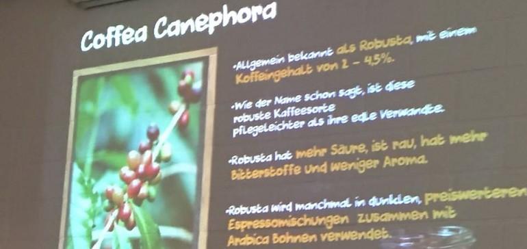Eine umfangreiche Präsentation informiert über Kaffee und Tee
