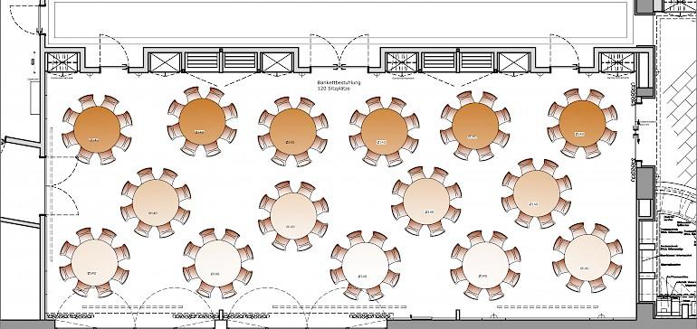 Raumplan Kaisersaal Bankett-Bestuhlung