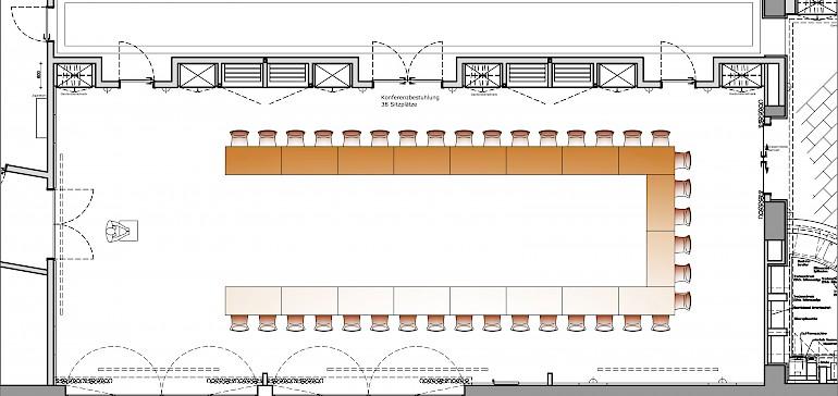 Raumplan Kaisersaal U-Bestuhlung