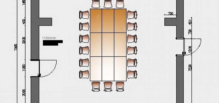 Raumskizze Kardinal-von-Galen mit Block-Bestuhlung