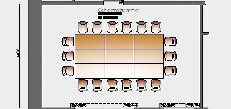 Raumskizze Geheimratszimmer in Block-Bestuhlung