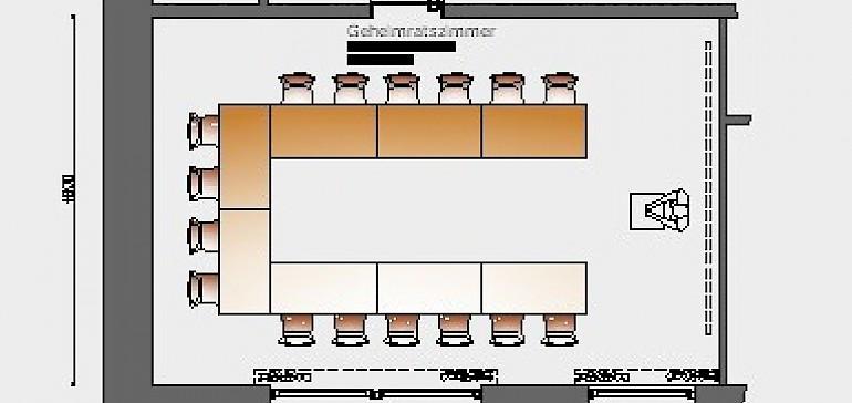 Raumskizze Geheimratszimmer in U-Bestuhlung