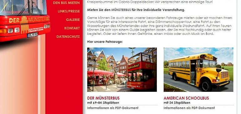 Der Screenshot der TCT-Touristik Webseite zeigt die mietbaren Busse