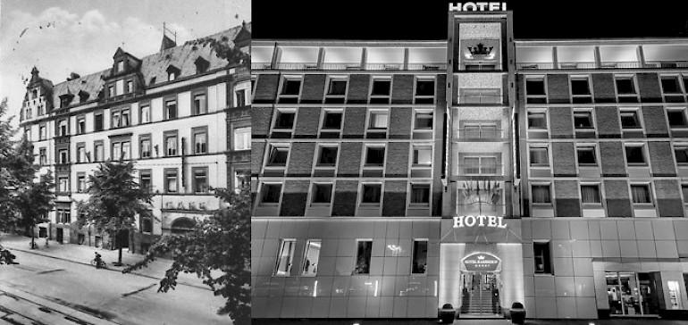Das Privathotel Kaiserhof zu Beginn seiner Existenz und heute